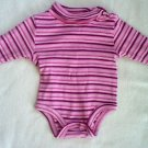 12 mos KID CONNECTION pink striped onesie - long sleeved in LIKE NEW condition