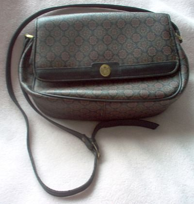 collectible 1990 LIZ CLAIBORNE multi pocket purse bag handbag nice condition dark colors