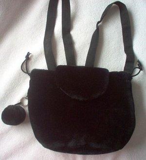 brand new Berkeley Designs black fuzzy backpack bag purse NWOT