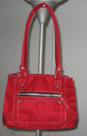 red canvas handbag bag purse multi pocket in great condition