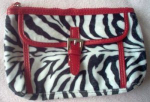 brand new zebra print cosmetic clutch makeup handbag NWOT cute