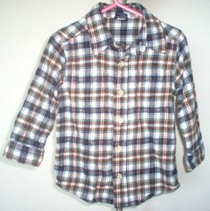 OSHKOSH flannel l/s shirt size 3T LIKE NEW fall earth colors plaid