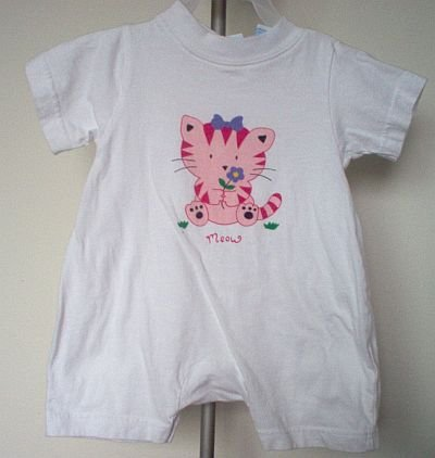 Miniwear white romper cat size 3-6 months in excellent condition