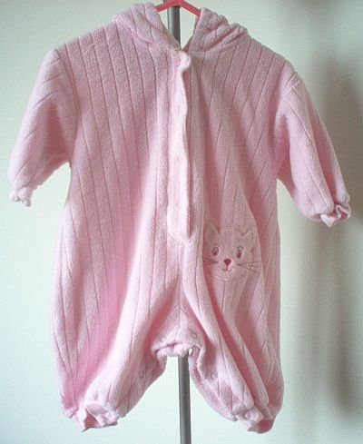 Class Club pink hooded one piece snap crotch 3-6 mos months in excellent condition