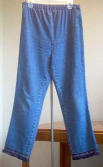 In Due Time Maternity panel jeans hand-decorated cuff size 10 in excellent condition