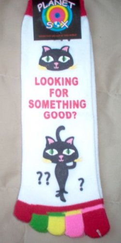 brand new Planet Sox size 9-11 TOE socks kitty cat phrase NWT