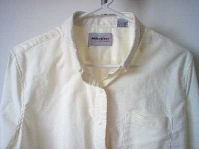 Objectives for Women cream button up long sleeve shirt size 40/L/XL excellent condition