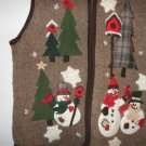 Victoria Jones brown country snowmen snowflake vest size large