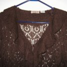 LIKE NEW MKM Designs brown sweater ruffle size medium loose knit