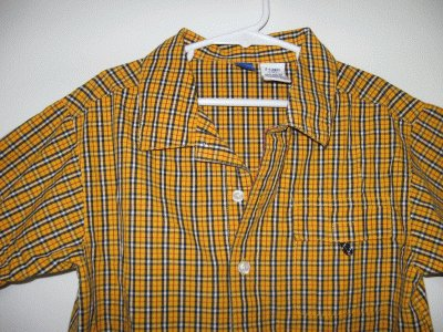 brand new no name GYMBOREE orangey yellow plaid button up 2000 6yr xl NWOT