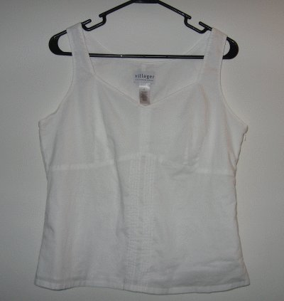 Villager Liz Claiborne size 12 white tank zip side like new