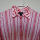 Westbound Stretch pink stripe floral top size Large like new