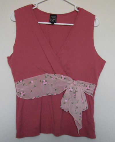 Suzie in the City light mauve wrap tank faux belt scarf size large
