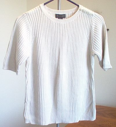 cream short sleeve sweater Van Heusen size Large ribbed excellent condition