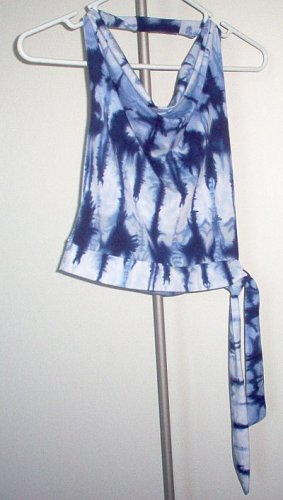 Rave blue funky halter top faux tie waist XS club hot excellent condition