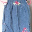 Cherokee 6 months denim flower romper jean onepiece excellent condition