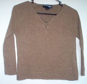 Norton McNaughton Petites size small S brown silk sweater excellent condition