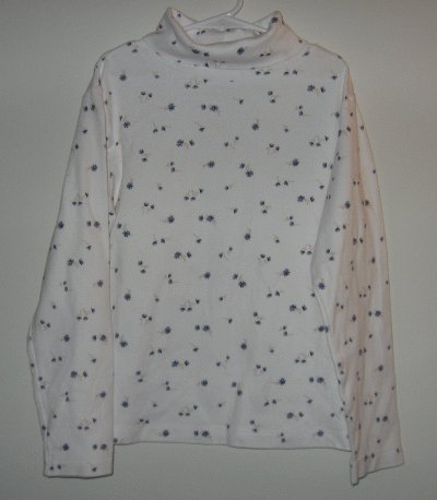 New So.. GSJC white turtleneck blue flowers size large 14