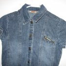 snap denim jean dress s/s girls size 10/12 excellent condition