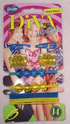 brand new set of blue and yellow Goody Mega Pack 14 Hair Accessories