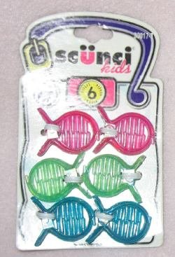 Brand new set of 6 scunci kids hair clips NIP