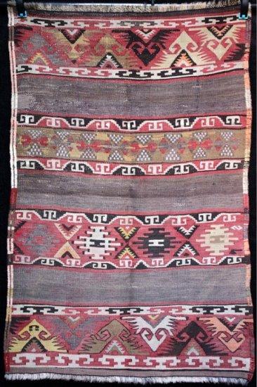 Antique Nomadic Elibelinde Tribal Kilim Afyon Anatolia