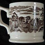 19th C. Antique Irish Lovers & Cows Mug Very Good Cond.