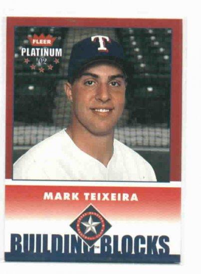 2002 Fleer Platinum Building Blocks Mark Teixeira Rookie Card Texas Rangers