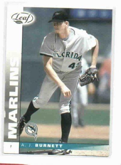 2002 Leaf AJ Burnett Beckett Sample Florida Marlins