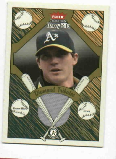 2004 Fleer Tradition Diamond Tribute Barry Zito Jersey Card Oakland A's