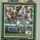 1989 Starting Lineup One On One Jose Canseco Baseball Card Oakland A's
