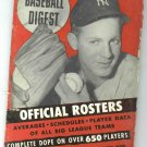 April 1954 Baseball Digest Official Rosters Whitey Ford Cover New York Yankees