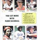 1983 Fleer Baseball Card Promo Sheet Rod Carew Dusty Baker More Oddball