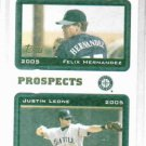 2005 Topps Prospects Felix Hernandez Justin Leone Seattle Mariners Rookie