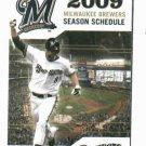 2009 Milwaukee Brewers Pocket Schedule Ryan Braun