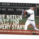2010 Boston Red Sox Pocket Schedule 4th Edition
