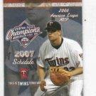 2007 Minnesota Twins Pocket Schedule