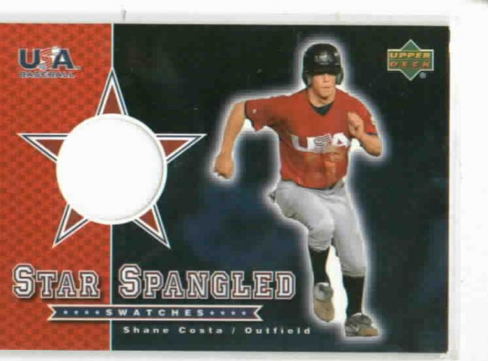 2002 Upper Deck USA Baseball Star Spangled Swatches Shane Costa Jersey Rookie