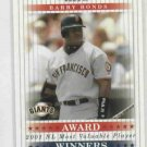 2003 Playoff Prestige Award Winners Barry Bonds San Francisco Giants #D 20/2001
