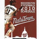 2010 Washington Nationals Pocket Schedule