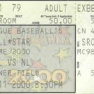 2000 MLB All Star Game Full Ticket Turner Field Jeter MVP Chipper Jones HR