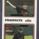 2005 Topps Prospects Matt Cain Merkin Valdez San Francisco Giants Rookie
