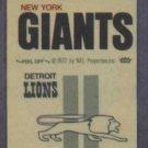 Vintage 1972 Fleer Cloth Sticker Detroit Lions New York Giants