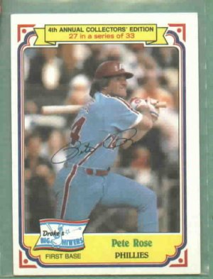 1984 Drakes Big Hitters Pete Rose Phillies Reds Oddball