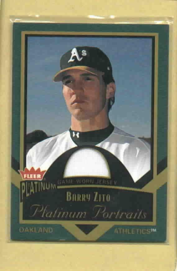 2003 Fleer Platinum Portraits Barry Zito Oakland A's Jersey # PP/BZ