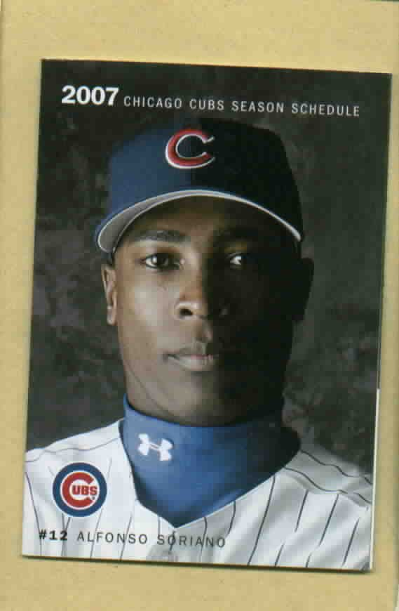 2007 Chicago Cubs Pocket Schedule Alfonso Soriano