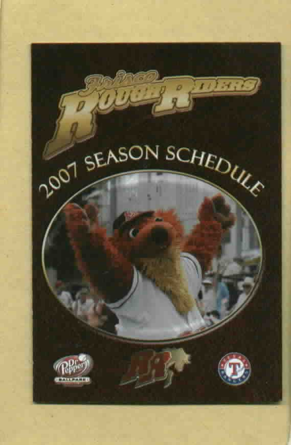 2007 Frisco Rough Riders Pocket Schedule Texas Rangers Minor League Dr Pepper