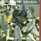 1981 Detroit Lions Pocket Schedule Billy Sims