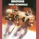 1986 Cleveland Browns Pocket Schedule