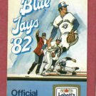 1982 Toronto Blue Jays Pocket Schedule Labatts Blue